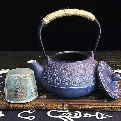 Floral Cast Iron Tea Pot Teapot Tetsubin Kettle Blue Floral /Dragonfly US Stock