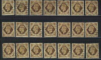 Vintage Great Britain Scott 248 One Shilling Lot Of 21 Used Stamps