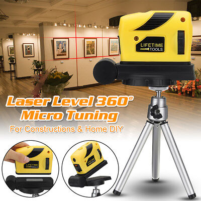 0-360° Rotary Laser Level Micro Tuning Cross Line Measuring Tool + Tripod Stand