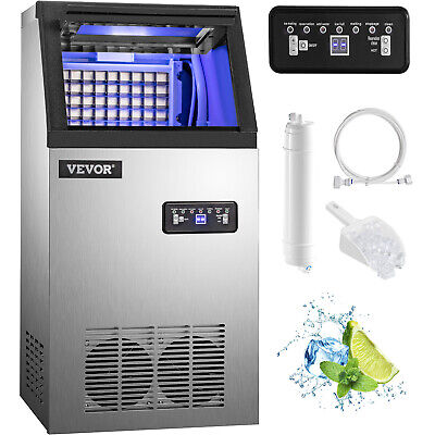 150Lbs 68kg Auto Commercial Ice Cube Maker Machine Stainless Steel Bar 110V 300W