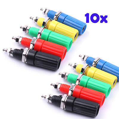 10x 4mm Banana Plug Amplifier Terminal Binding Post Socket Connector 5colors/2pc