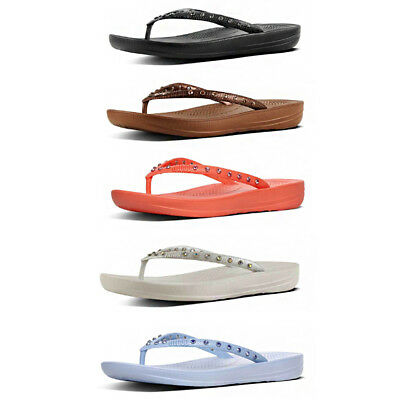 e50c0a9805a19 Fitflop Iqushion Crystal Womens Rubber Black Flip Flop Sandals UK Size 3 - 8