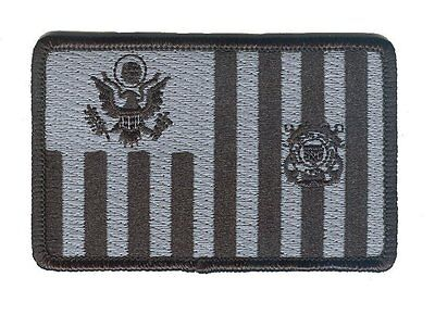 HOOK/LOOP Coast Guard ensign subdued black /gray W5278V USCG patch