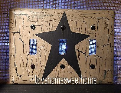 Primitive Crackle Tan & Black Star Triple Light Switch Plate ~ Country Decor