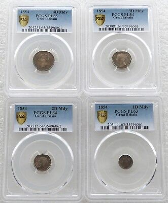 1854 Great Britain Victoria Young Head Maundy Silver 4 Coin Set PCGS PL65-PL62