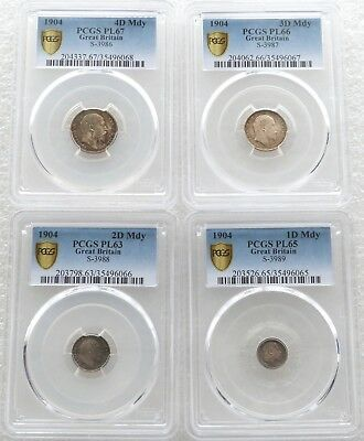 1904 Great Britain Edward VII Maundy Silver 4 Coin Set PCGS PL67 - PL63