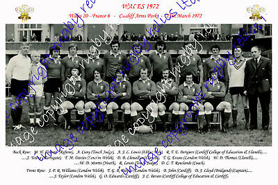 WALES 1972 RUGBY TEAM PHOTOGRAPH (v France)