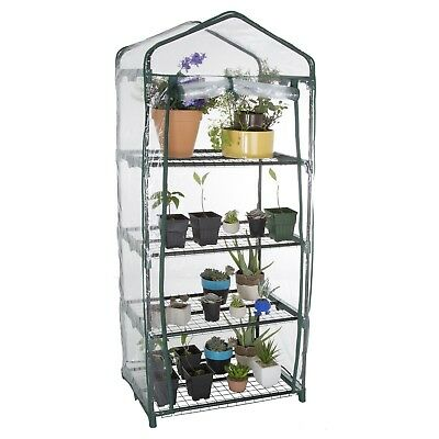 Mini Greenhouse with Cover 4 Tiers 5 Feet High 27 x 19 Inches Metal Frame