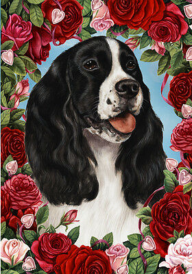 Large Indoor/Outdoor Roses Flag - Black & White English Springer Spaniel 19080