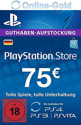 75€ EUR Playstation Network Card - 75 EURO PSN Prepaid Key PS3 PS4 PS Vita - DE