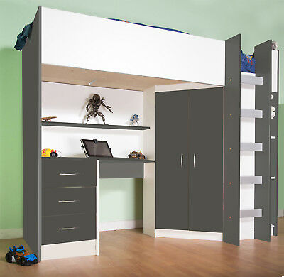 Calder High Sleeper Cabin Bed with Desk Wardrobe Drawer in Grey and White R227GW