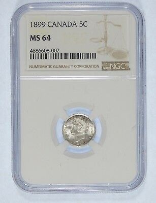 1899 CANADA Queen Victoria Silver 5c CERTIFIED NGC MS 64