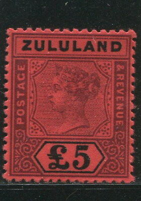 ZULULAND 1895 QV Victoria Red Paper Top Value £5 MNH Aged Gummed REPLICA