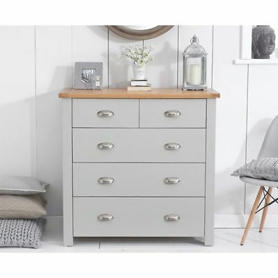 Sandringham Oak and Grey Painted Bedroom Furniture 2 Over 3 Chest of Drawers