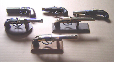 Vintage Lot of 6 Pistol Cigarette Table Lighters 3 With Wooden Stands