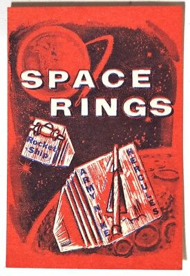 ESZ3706 Vintage SPACE RINGS Red Vending Machine Paper Ad Piece (1960s) SCARCE ~~