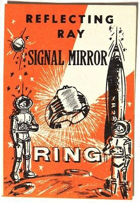 ESA0642 REFLECTING RAY SIGNAL MIRROR RING Vending Machine Ad Piece (1960) RARE~~