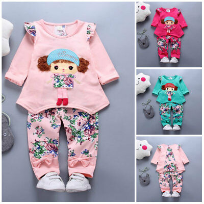 Toddler Baby Girls spring Clothes Set Tops &pants 2pcs Kids Outfits floral girl