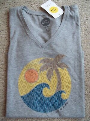 Life is Good Wave Palm s/s V-Neck T-Shirt~Classic Fit~New~Size M