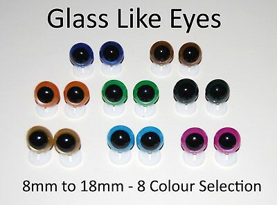 GLASS LIKE EYES - PLASTIC BACKS Teddy Bear Making Soft Toy Doll Animal Craft