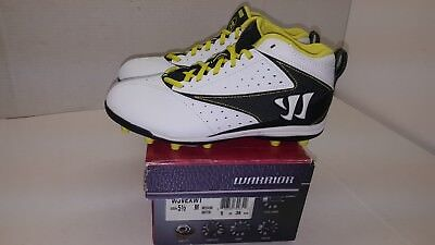 New Warrior Vex Lacrosse Mid Height Cleats White Black Yellow 5.5 Wjvexwt 5 1/2
