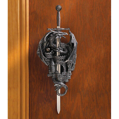 DRAGONS: Fearsome Dragon Medieval Castle and Dagger Wall Plaque Set NEW