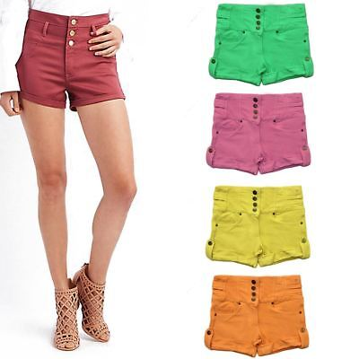 New Ladies High Waisted Womens Shorts Summer Coloured Casual Holiday Hotpants