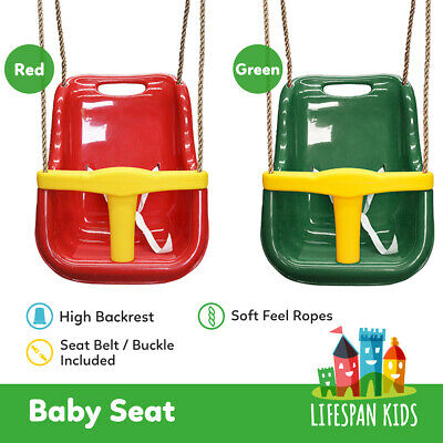 Lifespan Kids Baby Seat with Rope Extensions Swing Set Play Equipment Red /Green