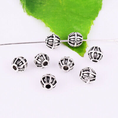 Tibetan Silver Round Spacer Beads Metal Stripe Charm Jewelry Findings 6mm