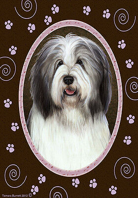 Garden Indoor/Outdoor Paws Flag - Blue & White Bearded Collie 171701