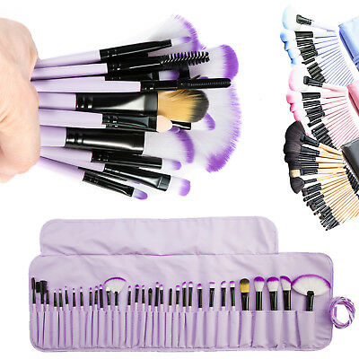 32pcs Professional Soft Cosmetic Eyebrow Shadow Makeup Brush Set Kit Case