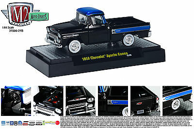 Black 1958 Chevrolet Apache Cameo Truck M2 Machines 1:64 Diecast Metal Model