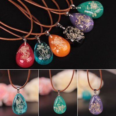 Natural Dried Flower Glow In The Dark Pendant Necklace Women Girl Jewelry Gift