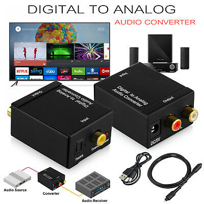 Digital to Analogue Audio Converter Adapter Coaxial Coax Optical Toslink RCA L/R