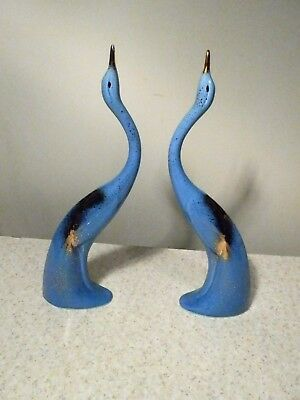 """Pair Of Vintage California Pottery 14 1/4"""" Tall Egrets Blue With Gold Usa Nice"""