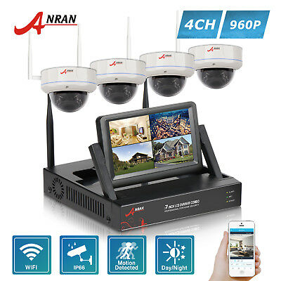 """ANRAN Wireless CCTV Home Security System 4PCS Camera 4CH 7""""LCD NVR Outdoor Kits"""