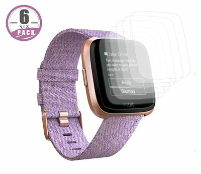 6X Premium Clear Screen Protector Film for Fitbit Versa Smart Watch 6 Pack