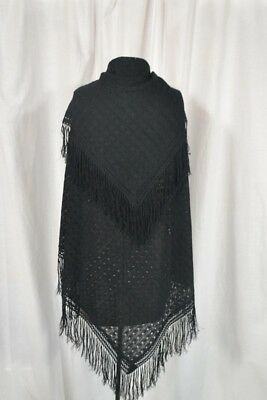 antique lace shawl black knitted silk cotton 40 x 40 fringe 1800-1900 vg