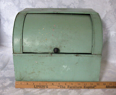 Vintage Green Metal Roll Up Bread Box, Shabby Country Kitchen