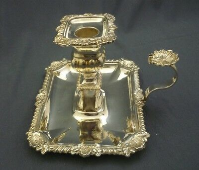 """Silver Plated Ornate Chamber Stick with """"Go To Bed"""" & Match Holder & Wax Guard"""