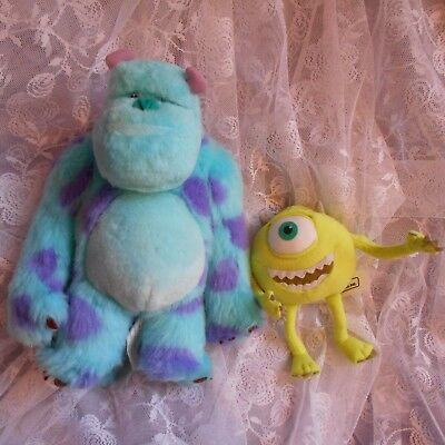 2 mike sully soft plush cuddly sulley toy top set Monsters inc university figure