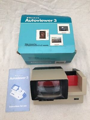PHOTAX AUTOVIEWER 3 , 35mm ILLUMINATED SLIDE VIEWING UNIT , BOXED & WORKING