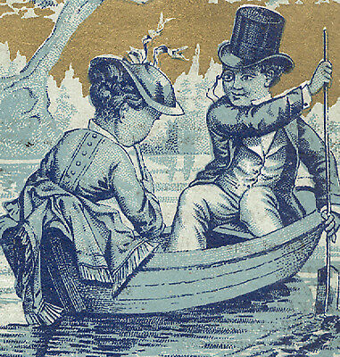 WATERTOWN NY, DAVIS SEWING MACHINE TRADE CARD, LADY, MAN w MONOCLE in BOAT TC160
