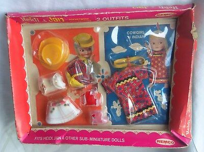 Remco Heidi & Jan 2 Outfits COWGIRL & INDIAN Mint in worn Box, 1966