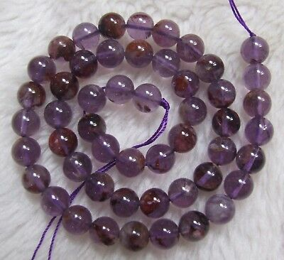 6mm 8mm 10mm 12mm Natural Purple Phantom Quartz Round Loose Beads 15.5""