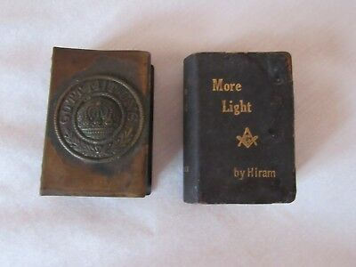 Lot of 2 Antique Match Box Covers Brass Gott Mit Uns and/Mason Leather covered