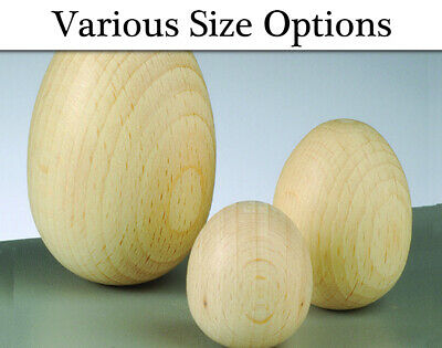 Untreated Solid Wooden Eggs to Decorate - Choice of Size