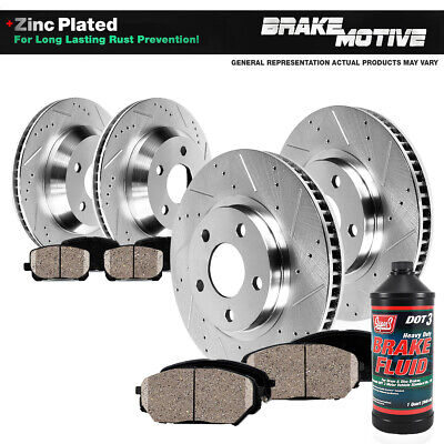 Front & Rear Drill Slot Brake Rotors And Ceramic Pads For 2004 - 2008 Mazda RX8