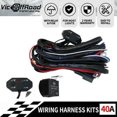 12V 40A LED Wiring Loom Harness Driving light bar High Low Beam Deutsch Relay