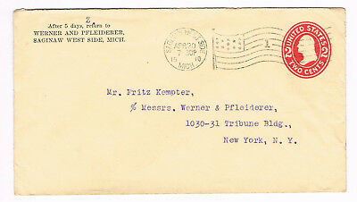 USA Postal Cover 2c 1910 used to New York with fancy FLAG CANCEL (A5/27)
